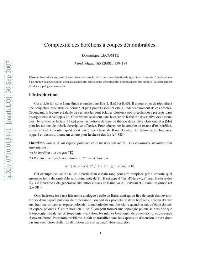 Dominique Lecomte - Complexité des boréliens à coupes dénombrables
