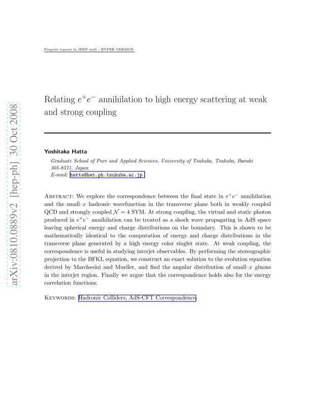 Yoshitaka Hatta - Relating $e^+e^-$ annihilation to high energy scattering at weak and strong coupling