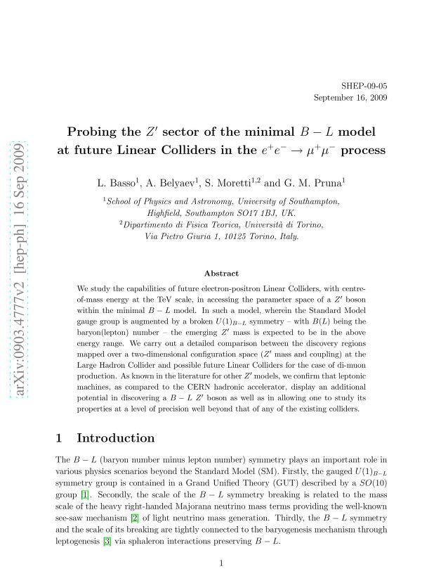 Lorenzo Basso - Probing the $Z'$ sector of the minimal $B-L$ model at future Linear Colliders in the $e^+e^-\to μ^+μ^-$ process
