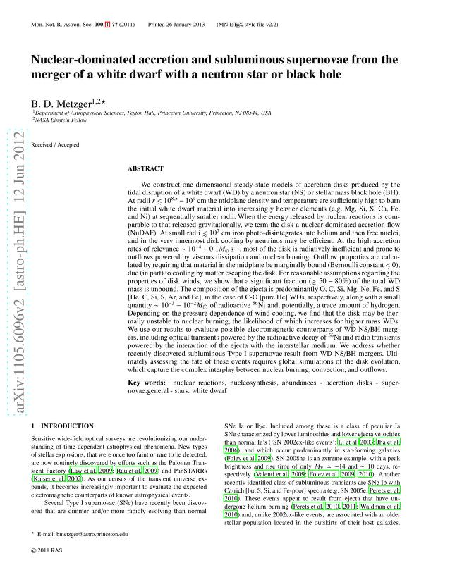 Brian D. Metzger - Nuclear-dominated accretion and subluminous supernovae from the merger of a white dwarf with a neutron star or black hole