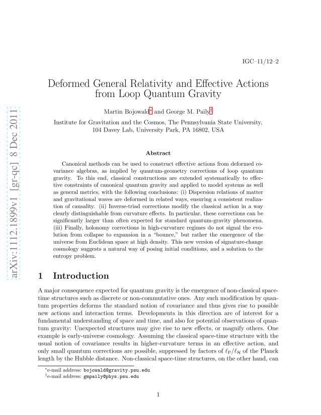 Martin Bojowald - Deformed General Relativity and Effective Actions from Loop Quantum Gravity