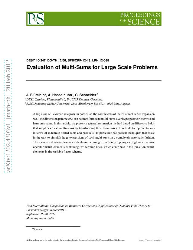 J. Blümlein - Evaluation of Multi-Sums for Large Scale Problems