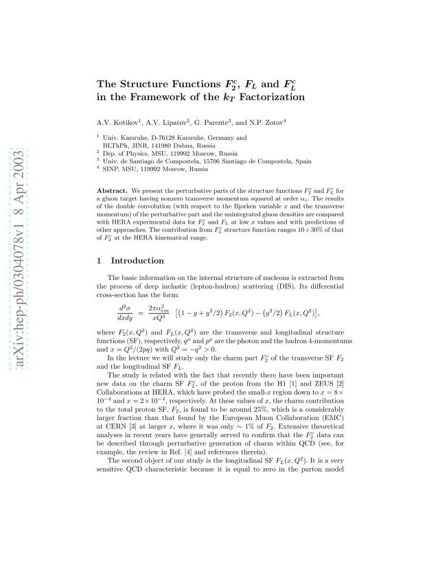 A. V. Kotikov - The Structure Functions F_2^c, F_L and F_L^c in the Framework of the k_T Factorization