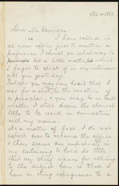 Moses Coit Tyler - [Letter to] Dear Mr. Garrison [manuscript]